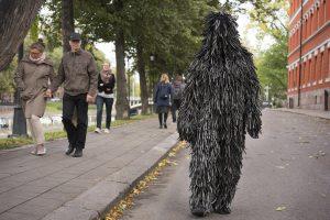 walking along riverside Aura, 22.9.2018, New Performance Turku festival